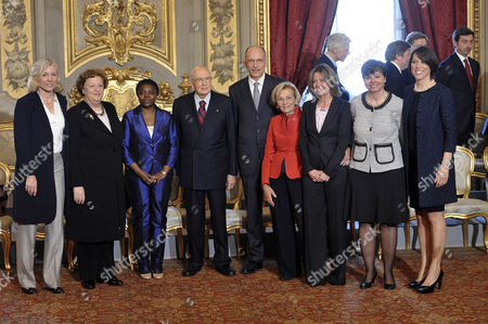 Josefa Idem, Minister of Sport and Equal Opportunities, Anna Maria Cancellieri, Minister of Justice, Cecile Kyenge, Minister of Integration, Premier Enrico Letta, Republic President Giorgio Napolitano, Emma Bonino, Minister of Foreign Affairs, Beatrice Lorenzin, Minister of Health, Maria Chiara Carrozza, Minister of Education, Nunzia Di Girolamo, Minister of Agricultural and Forestry