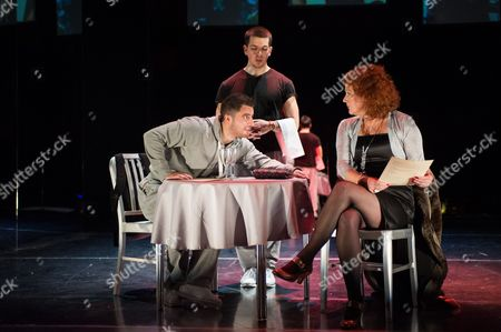Jamie Nichols (Luke Prospect) and Louise Jameson (Bridie Prospect). Gavin McCluskey (waiter)
