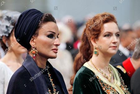 Sheikha Mozah Bint Nasser Al Missned of Qatar and Princess Lalla Salma of Morocco