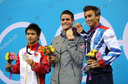 Men's 10m Platform Diving final - Qiu Bo (silver), David Boudia (gold) and Tom Daley ( Bronze)