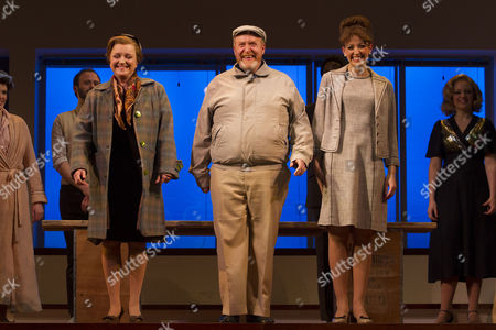 Stock Image of Amanda Minihan (Scotty/Mrs Spencer), Martin Callaghan (Terry/Mr Spencer) and Amy Ellen Richardson (KT) during the curtain call
