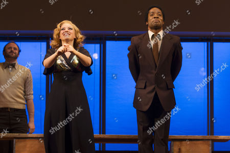 Julie Jupp (Dory/Evelyn) and Kirk Patterson (Bunker/Newsman/Reverend) during the curtain call