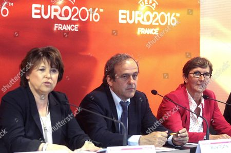 Lille's mayor Martine Aubry, Michel Platini and French Sports Minister Valerie Fourneyron