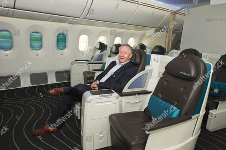 Stock Picture of Boeing Introduces Its New Aeroplane The Dreamliner Or 787 To Its British Customers Today 23rd April 2012 At Heathrow Airport. British Airways Virgin And Thompson Holidays Have All Ordered The Aircraft. Steve Ridgway From Virgin Atlantic Trying The Seats In First Class.