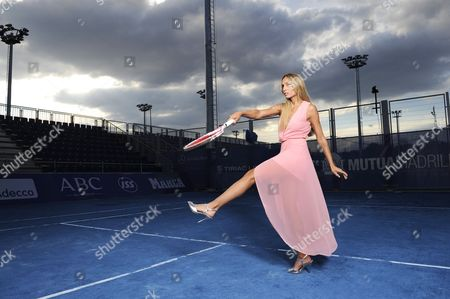 Stock Picture of Gisela Dulko (argentinian) Wears Bax Paris Pale Pink Long Dress Zara Shoes May .2012. Mardid Wta Womens Fashion Shoot For The Daily Mail