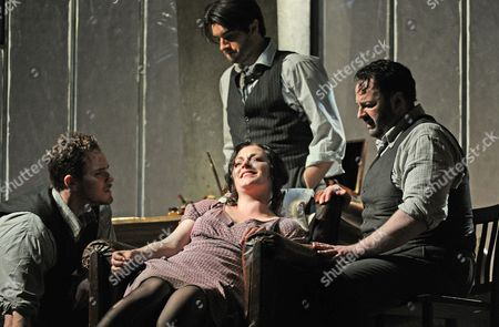 'La Boheme' - Duncan Rock as Schuanard, Andrew Craig Brown as Colline, Kate Valentine as Mimi and Gwyn Hughes Jones as Rodolfo