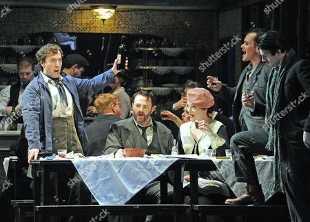'La Boheme' - Richard Burkhard as Marcello, Gwyn Hughes Jones as Rodolfo, Kate Valentine as Mimi, Duncan Rock as Schaunard and Andrew Craig Brown as Colline
