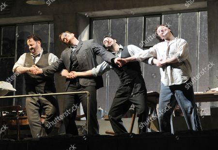 'La Boheme' - Gwyn Hughes Jones as Rodolfo, Duncan Rock as Schaunard, Andrew Craig Brown as Colline and Richard Burkhard as Marcello