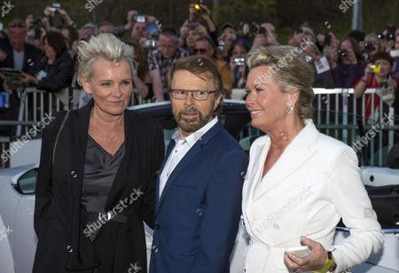 Bjorn Ulvaeus with Eva Dahlgren and jewellery designer Efva Attling