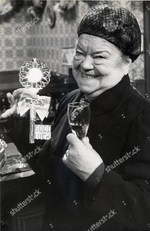Violet Carson As Ena Sharples Celebrating The 18th Birthday Of Tv Programme Coronation Street.