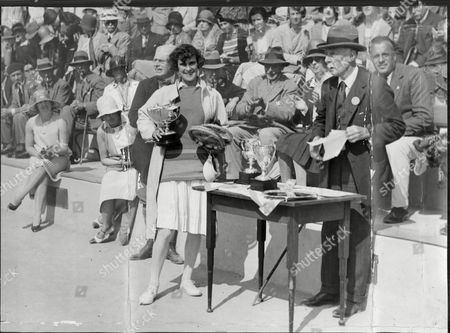 Editorial image of Tennis Player Mrs Phyllis Satterthwaite After Receiving From George Forbes The Cup She Won In The Women's Singles Of Bordighera Tennis Tournament Phyllis Helen Satterthwaite (january 26 1889 Oo January 20 1962 London) Was A Female Tennis Player From
