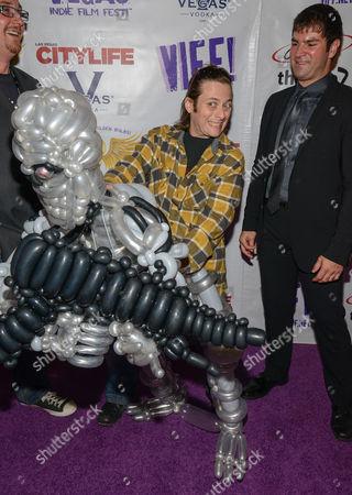 Edward Furlong and Nicholas Gyeney and Terminator balloon figure