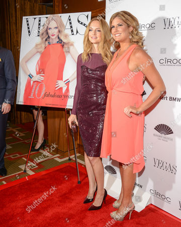 Stock Image of Heather Graham and Abby Tegnelia Vegas magazine Editor-In-Chief