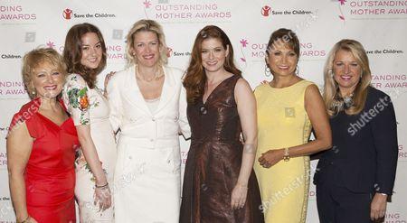 Stock Image of Christina Huffington, Dottie Mattison, Debra Messing, Margarita Arriagada and Mindy Grossman