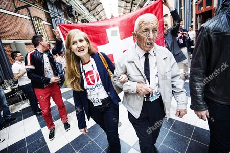 Stock Photo of Katharina Hauri with 95-year-old- Emil Ramsauer of Switzerland