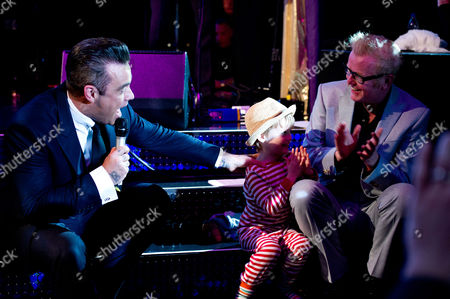 Chris Evans and Son Noah Evans with Robbie Williams