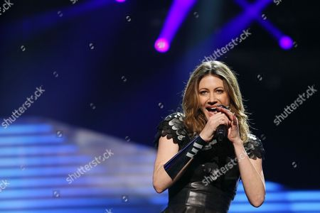 Hannah Mancini of Slovenia performs in a dress rehearsal for the first Semi-Final