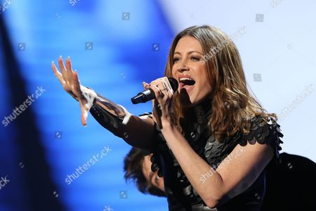 Stock Photo of Hannah Mancini of Slovenia performs in a dress rehearsal for the first Semi-Final