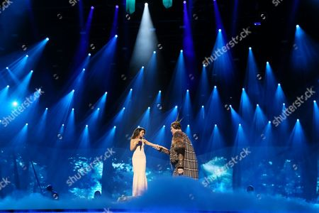Igor Vovkovinskiy and Zlata Ognevich of Ukraine perform in a dress rehearsal for the first Semi-Final