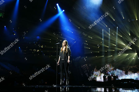 Anouk Teeuwe of The Netherlands performs in a dress rehearsal for the first Semi-Final