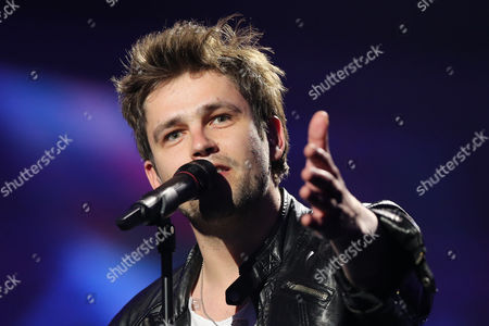 Stock Picture of Andrius Pojavis of Lithuania performs in a dress rehearsal for the first Semi-Final