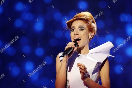 Aliona Moon of Moldova performs in a dress rehearsal for the first Semi-Final