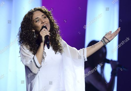 Stock Photo of Natalia Kelly of Austria during the first dress rehearsal of the first semi-final