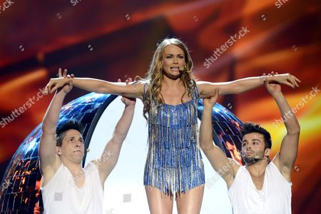 Alyona Lanskaya of Belarus during the first dress rehearsal of the First Semi-final