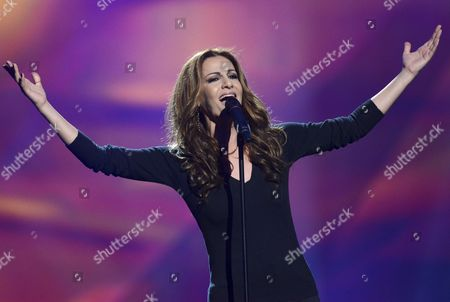 Stock Photo of Despina Olympiou of Cyprus during the first dress rehearsal of the First Semi-final