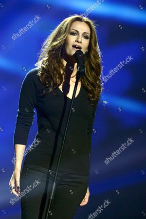 Stock Image of Despina Olympiou of Cyprus during the first dress rehearsal of the First Semi-final