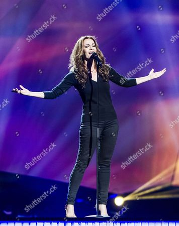 Stock Picture of Despina Olympiou of Cyprus performs in a dress rehearsal for the first Semi-Final
