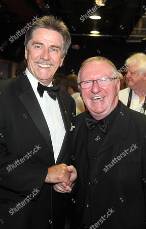 Stock Picture of Cliff Thorburn (L) at Snooker Legends Tour match at Crucible Sheffield, Britain, April 2010 - his last public snooker exhibition