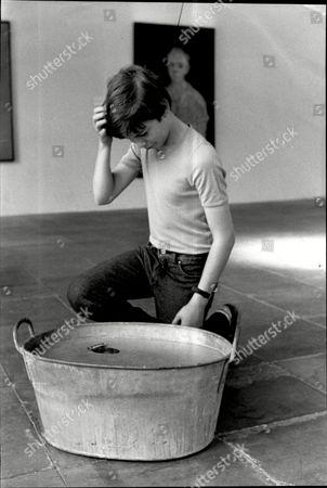 London Art Exhibition At The Serpentine Gallery Work Of Artist Richard Wentworth 'a Tin Bath'.