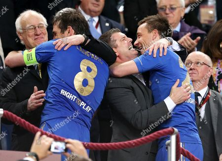Chelsea chairman Bruce Buck, Frank Lampard, Ron Gourlay and John Terry celebrate winning the Europa League