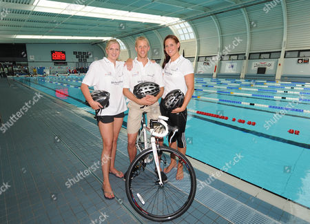 Stock Picture of (l-r) Rebecca Adlington Ross Davenport And Joanne Jackson. Olympic Swimmers Feature Loughborough.