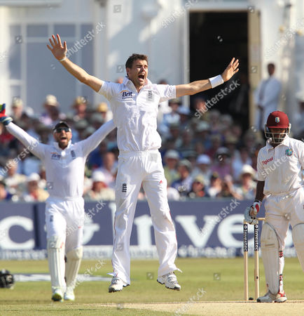 England's James Anderson Takes The Wicket Of West Indies' Adrian Barath Lbw At Trent Bridge. Cricket England V West Indies At Trent Bridge