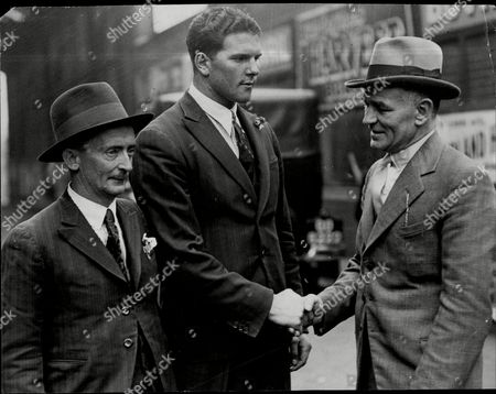 South African Boxer Ben Foord (centre) Greeted By Boxing Manager Ted Broadribb (right) On The Left Is Louise Walsh Foord's Manager.