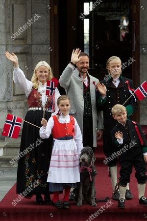 Crown Princess Mette-Marit, Crown Prince Haakon, Prince Sverre Magnus, Princess Ingrid Alexandra and Marius Borg Hoiby