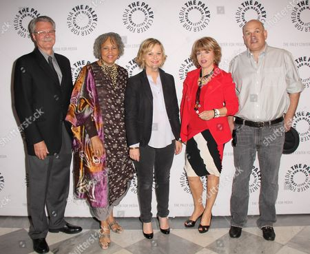 Peabody Awards Director Horace Newcomb, Charlayne Hunter-Gault, Amy Poehler, Paley Center President/CEO Pat Mitchell, David Simon