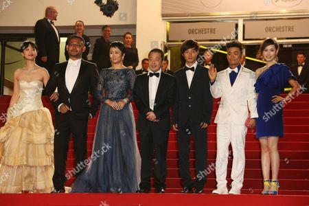 Meng Li, Jiang Wu, Tao Zhao, director Jia Zhangke, Lanshan Luo, Baoqiang Wang and Ma Rong