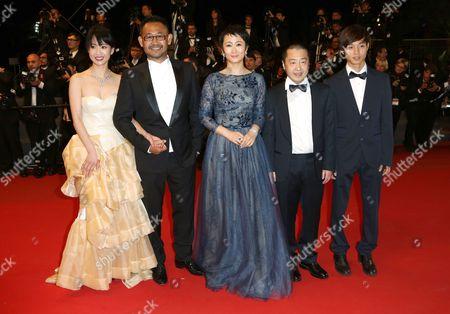 Stock Picture of Meng Li, Jiang Wu, Tao Zhao, director Jia Zhangke, Lanshan Luo