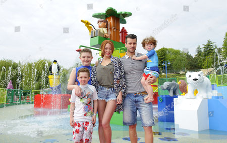 Stock Photo of Natasha Hamilton, husband Riad Erraji and children Josh, Harry and Alfie