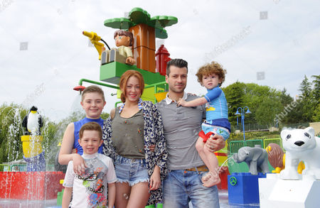 Natasha Hamilton, husband Riad Erraji and children Josh, Harry and Alfie