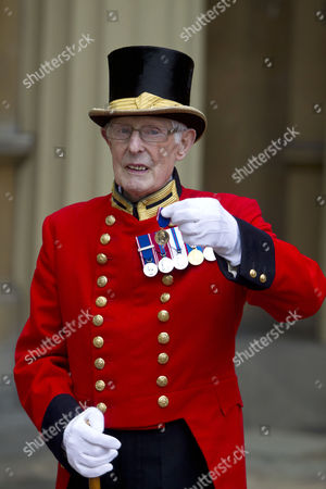 Stock Photo of Pat Carroll, for 60 years service at Buckingham Palace.