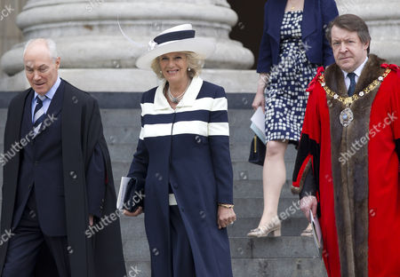Camilla Duchess of Cornwall and the Lord Mayor of London Roger Gifford
