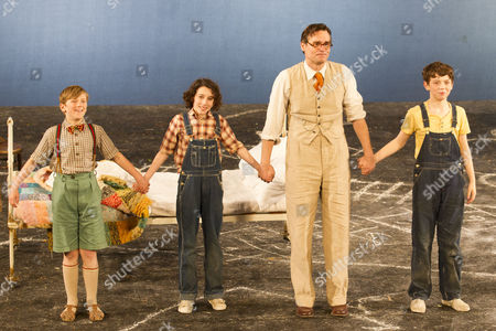 Stock Photo of Harry Bennett (Dill), Izzy Lee (Scout), Robert Sean Leonard (Atticus Finch) and Adam Scotland (Jem)