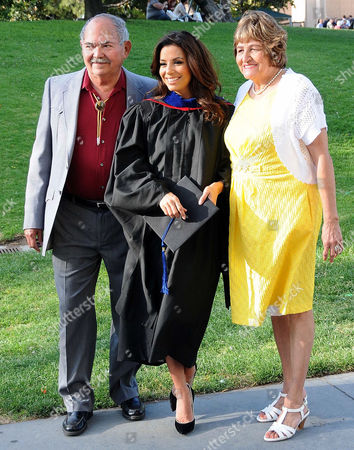 Stock Image of Eva Longoria with her father Enrique Longoria, Jr. and mother Ella Eva Mireles