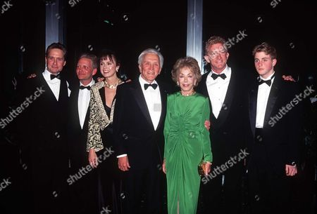 Kirk Douglas with wife Anne, son Michael Douglas, Eric Douglas, Peter Douglas with wife Diandra also grandson Cameron Douglas