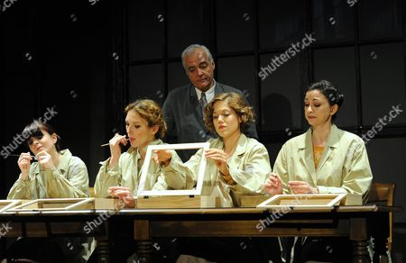 Stock Picture of 'These Shining Lives' - Nathalie Carrington as Pearl, Honeysuckle Weeks as Charlotte, David Calvitto as Mr Reed, Charity Wakefield as Catherine and Melanie Bond as Frances