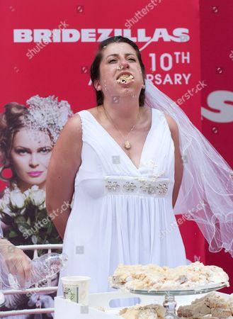Stock Photo of Cake eating contest winner Jennifer Paolotti